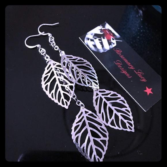 silver leaf duster earrings